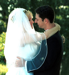 Photo of wedding embrace